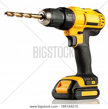 drill battery screwdriver on a white background