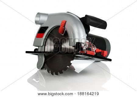 new small but powerful circular saw on white background
