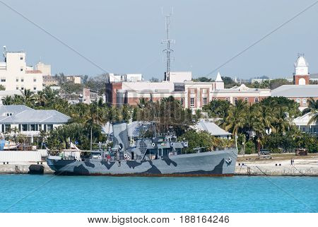 The historic military ship moored in Key West town (Florida).