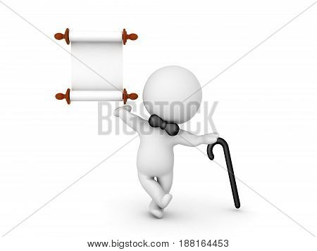 3D Character with black bow tie leaning on a cane and holding a scroll. Image depicting presenting an announcement.