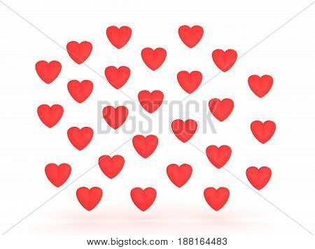 illustration of many red cartoon hearts. They are vivid in color.