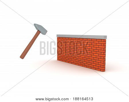 3D illustratrion of sledge hammer smashing wall. Image depicting demolish concept.
