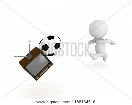 3D Character hitting tv with football soccer ball. Image depicting child causing a mess in the house.