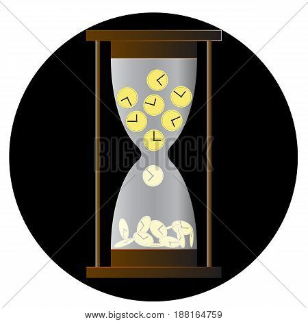 Hourglass icon, sandglass, sandclock, flat design, vector illustration isolated on white background