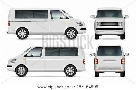 Mini bus vector template for car branding and advertising. Isolated city minibus on white background. All layers and groups well organized for easy editing and recolor. View from left and right side front back.