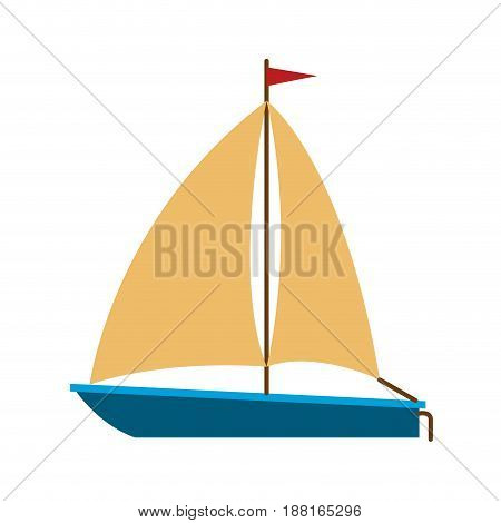 color silhouette of sailboat icon vector illustration