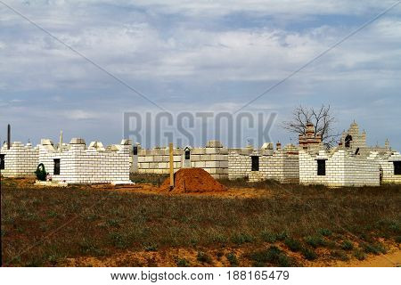 Modern muslim ethnic tatar cemetry in steppe