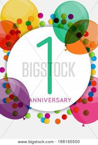 Template 1 Anniversary Congratulations, Greeting Card, Invitation Vector Illustration EPS10