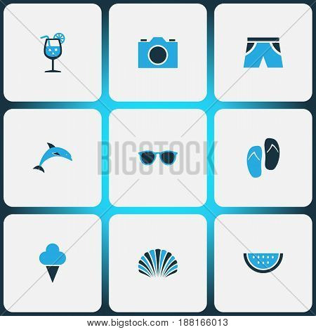 Season Colorful Icons Set. Collection Of Ice Cream, Shorts, Shell And Other Elements. Also Includes Symbols Such As Flip, Shorts, Spectacles.