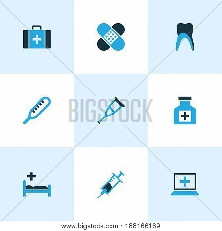 Drug Colorful Icons Set. Collection Of Thermometer, Bed, Apparatus And Other Elements. Also Includes Symbols Such As Mercury, Squirt, Patch.