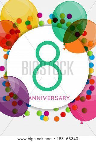 Template 8 Years Anniversary Congratulations, Greeting Card, Invitation Vector Illustration EPS10