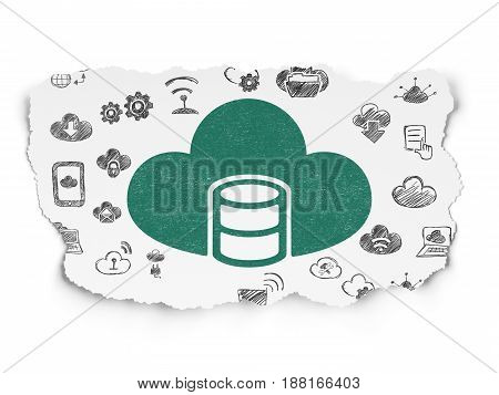 Cloud computing concept: Painted green Database With Cloud icon on Torn Paper background with  Hand Drawn Cloud Technology Icons
