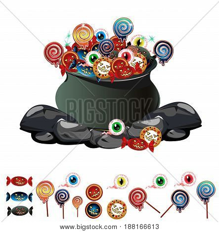 halloween cauldron with sweets. Color vector illustration.