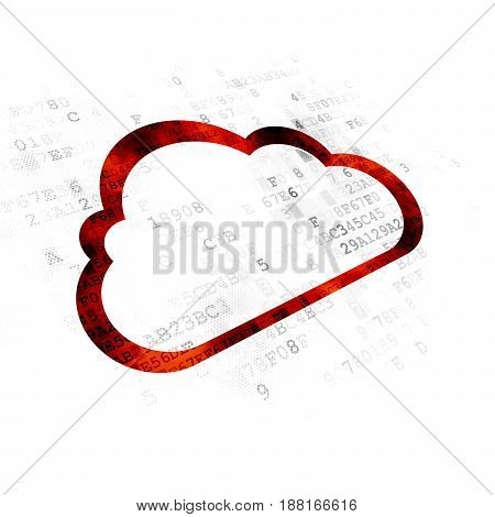 Cloud technology concept: Pixelated red Cloud icon on Digital background