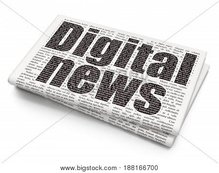 News concept: Pixelated black text Digital News on Newspaper background, 3D rendering