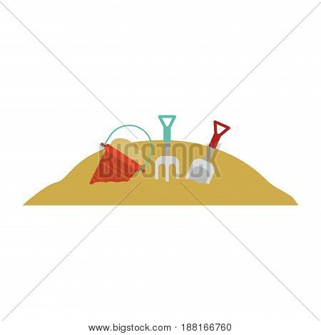 color silhouette with set tools for playing in sand vector illustration