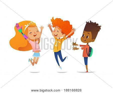 Happy children jump with raised hands. Girl with artificial robotic arm and her friends rejoice together. Inclusion of disabled kids concept. Vector illustration for banner, website, advertisement.