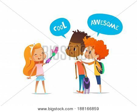 Smiling amputee girl shows robotic arm to two classmates, boys amazedly look at it and encourage her. Children's friendship concept. Vector illustration for banner, website, advertisement, postcard.