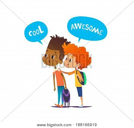 Two multiracial boys with backpacks stand amazed and surprised. Pair of school friends look in astonishment in one direction. Vector illustration for banner, website, advertisement, poster, postcard.
