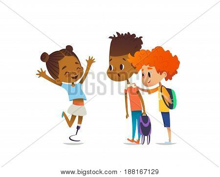 Cheerful amputee girl happily greet her school friends and shows them new artificial leg, two boys are surprised and happy. Welcome back concept. Vector illustration for website, social advertisement.