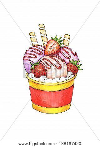 Sundae ice cream with taste of strawberry in cup on white background. Handwork sketch. Ice cream illustration