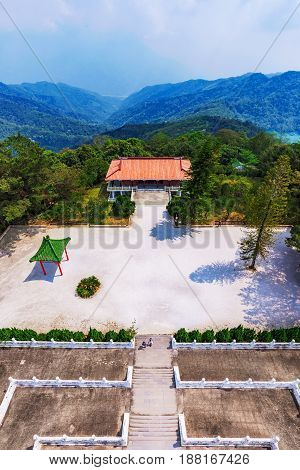 View of courtyard and traditional architecture of Ci'en pagoda in Sun moon lake