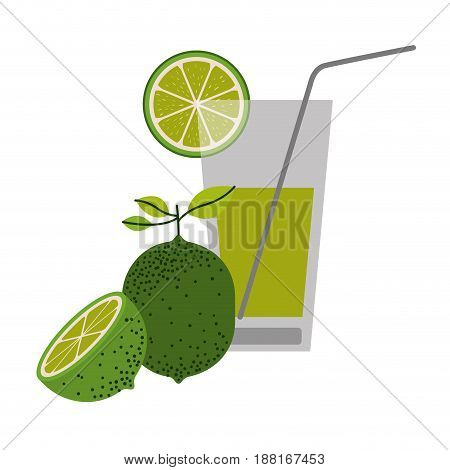 color silhouette of lemonade drink with lemon slice and lemon fruit vector illustration