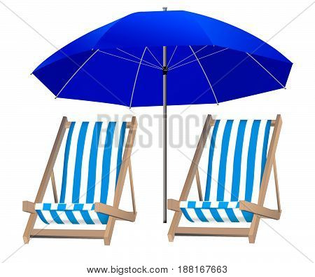 isolated umbrella and two loungers on the background