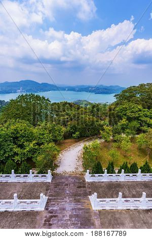 View of Sun Moon Lake with temple entrance