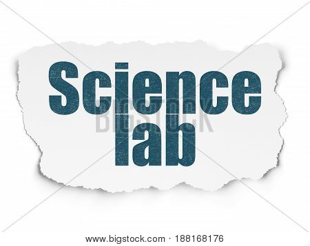 Science concept: Painted blue text Science Lab on Torn Paper background with  Hand Drawn Science Icons