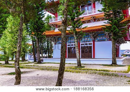 NANTOU TAIWAN - MAY 06: This is Xuanguang temple a popular buddhist temple located on Sun Moon Lake on May 06 2017 in Nantou