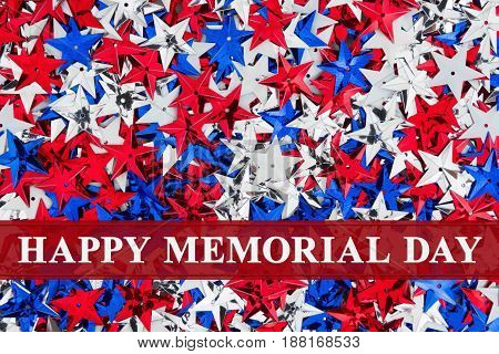 Happy Memorial Day text over red white and blue stars background
