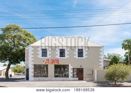 ROBERTSON SOUTH AFRICA - MARCH 26 2017: A business in an historic building in Robertson a town on the scenic Route 62 in the Western Cape Province