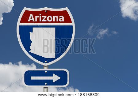 Road trip to Arizona Red white and blue interstate highway road sign with word Arizona and map of Arizona with sky background 3D Illustration