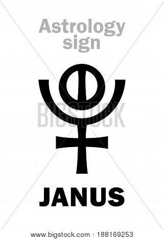 Astrology Alphabet: JANUS, 12th hypothetic giant planet (behind Pluto). Hieroglyphics character sign (variation symbol).