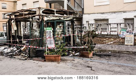 Chieti Italy - March 19 2017: Newsstand burned in the center of Chieti by vandals