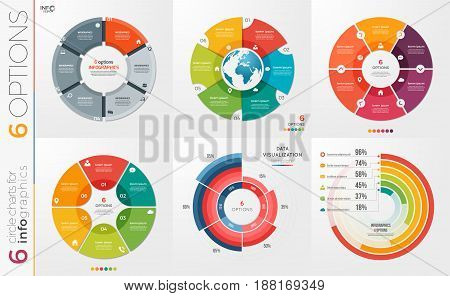 Collection of 6 vector circle chart templates for infographics with 6 options.