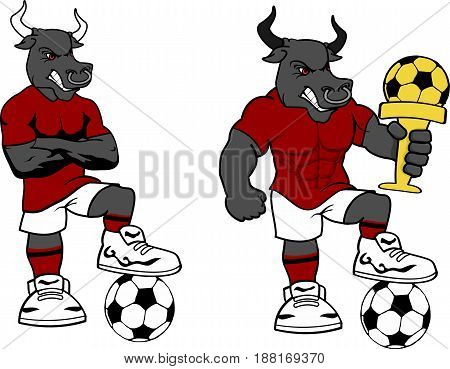 soccer futbol strong bull cartoon set in vector format very easy to edit