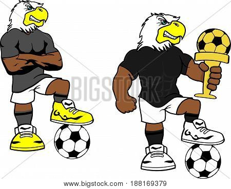 soccer futbol strong eagle cartoon set in vector format very easy to edit