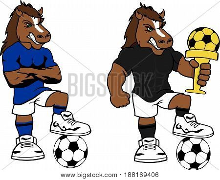soccer futbol strong horse cartoon set in vector format very easy to edit