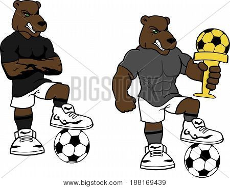 soccer futbol strong bear cartoon set in vector format very easy to edit