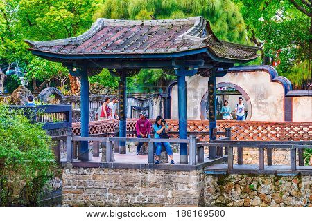 TAIPEI TAIWAN - APRIL 30: Courtyard of the Lin family mansion and garden with traditional Chinese architecture on April 30 2017 in Taipei