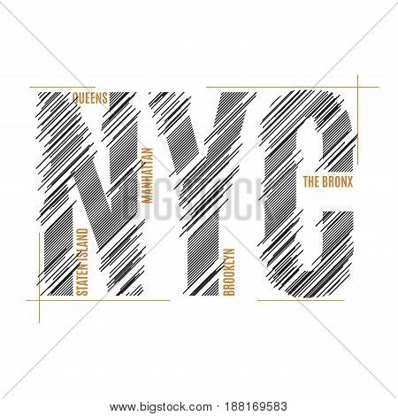 New York tee print. T-shirt design graphics stamp label typography. Vector illustration.