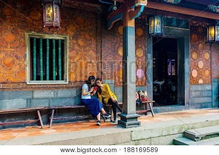 TAIPEI TAIWAN - APRIL 30: Traditional architecture of the Lin family mansion and garden a popular historic sight in the Banqiao district on April 30 2017 in Taipei