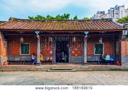 TAIPEI TAIWAN - APRIL 30: Architecture of the Lin family garden and mansion a popular historic mansion in the Banqiao district of New Taipei on April 30 2017 in Taipei