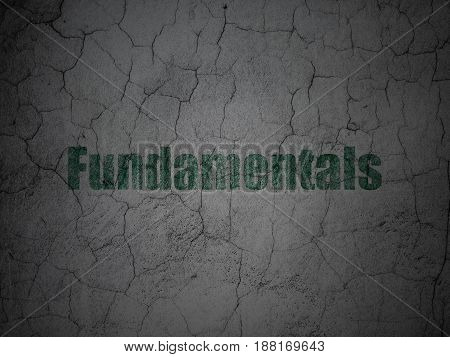 Science concept: Green Fundamentals on grunge textured concrete wall background