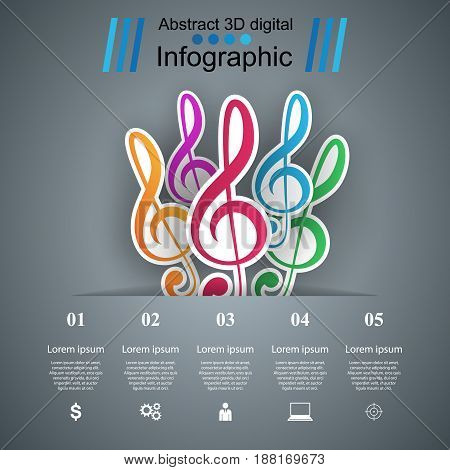 Infographic design template and marketing icons. Note icon.
