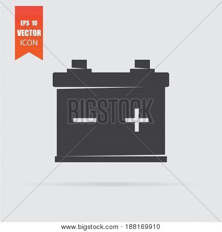 Car Battery Icon In Flat Style Isolated On Grey Background.