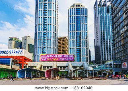 TAIPEI TAIWAN - APRIL 30: This is a view of the Banqiao bus station a popular and busy station in the Banqiao district of New Taipei on April 30 2017 in Taipei