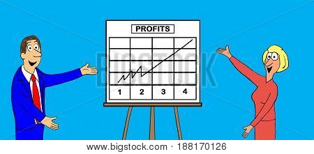 Business cartoon illustration showing two smiling, business people presenting the excellent annual profits.